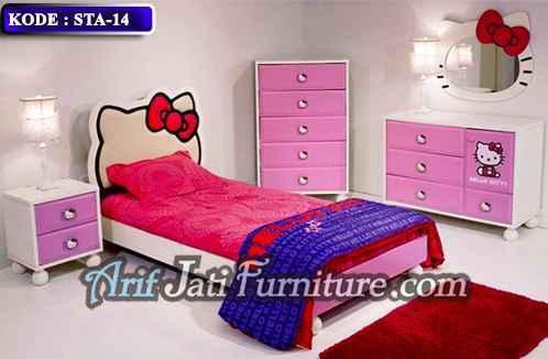 set kamar anak perempuan hello kitty