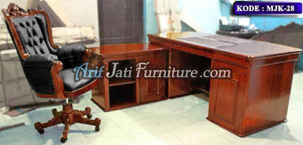 meja kursi kantor kayu jati