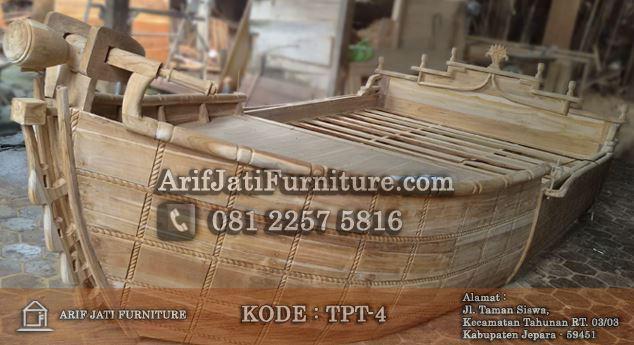tempat tidur perahu kayu jati