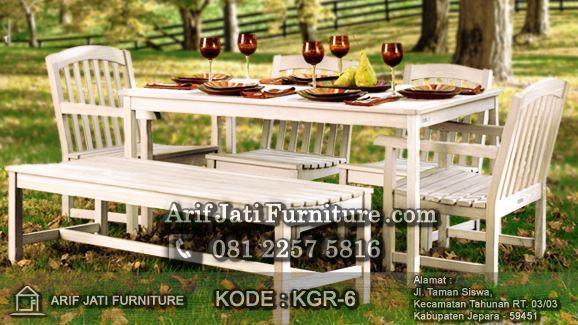 kursi makan outdoor cat duco putih
