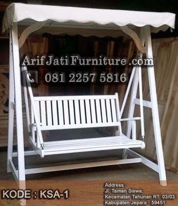 kursi ayunan warna putih cat duco