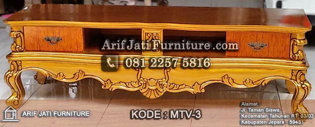 meja tv ukiran klasik warna emas mewah
