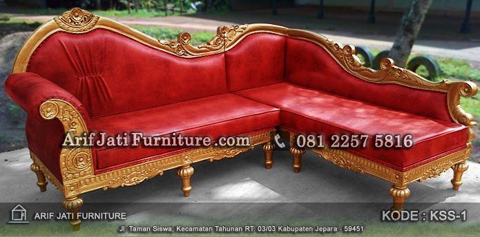 sofa sudut kayu jati