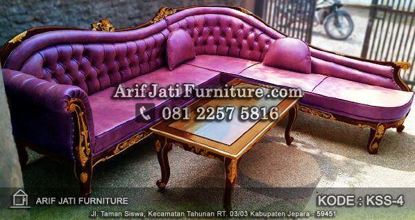sofa sudut warna ungu