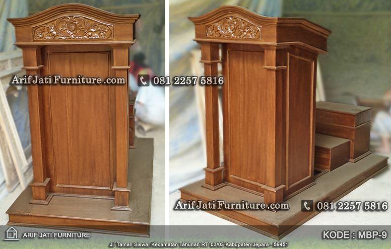 podium kayu jati minimalis