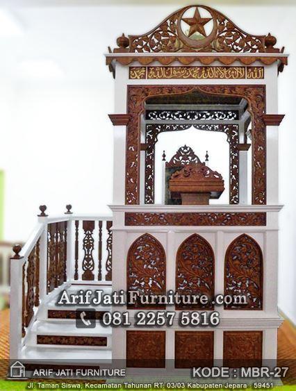 mimbar masjid ukir warna putih natural
