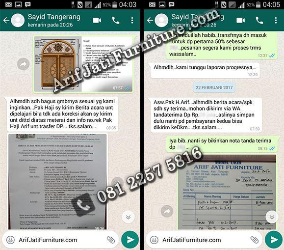 bukti Arif Jati Furniture online terpercaya