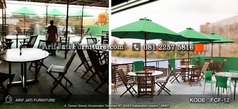 kursi lipat meja payung untuk cafe outdoor