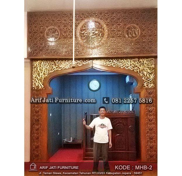 mihrab pengimaman masjid kayu jati tpk