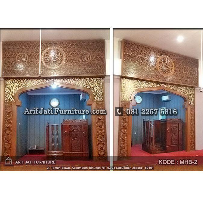 mihrab pengimaman masjid produksi arif jati furniture