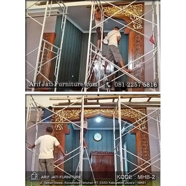 pemasangan mihrab pengimaman masjid