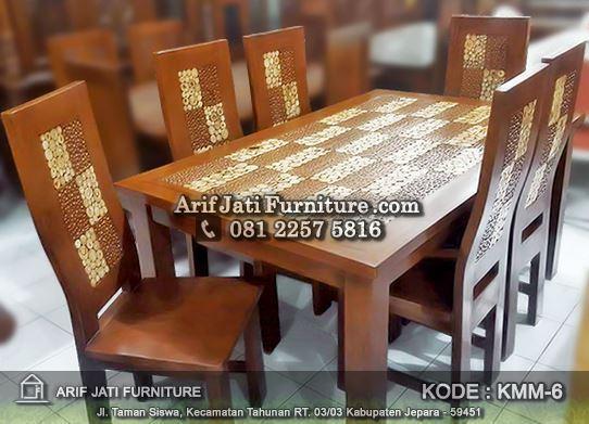 set kursi makan koin kombinasi ukir