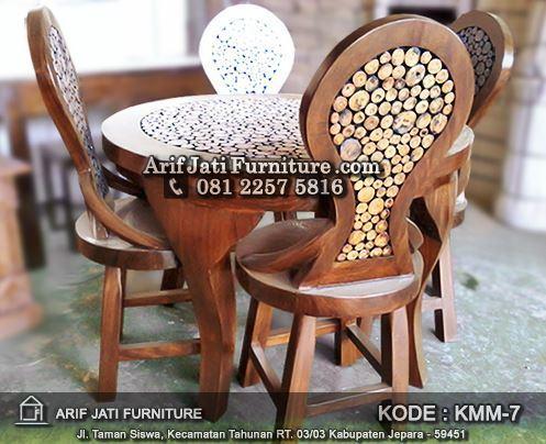 set kursi makan koin kacang antik