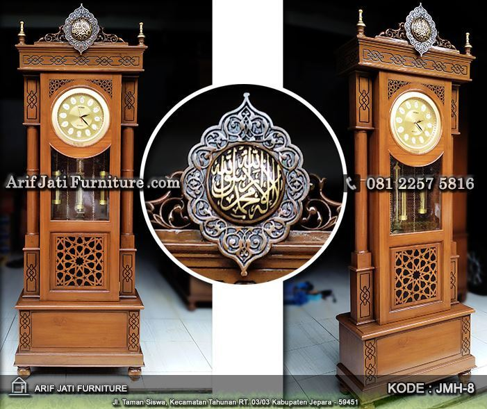 lemari jam hias masjid ukir kaligrafi