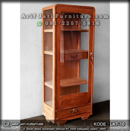 lemari kaca kayu jati minimalis retro