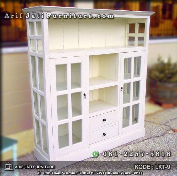 rak lemari kaca serbaguna warna putih