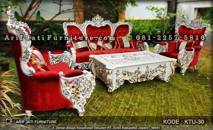 kursi tamu bellagio mewah warna merah