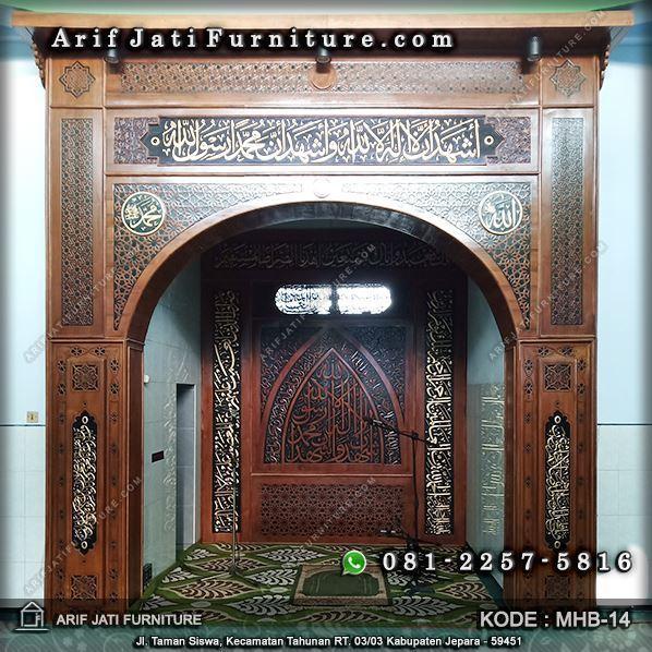 dekorasi dinding pengimaman masjid kayu jati