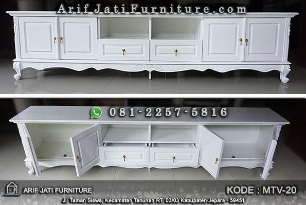 meja tv klasik cat duco warna putih