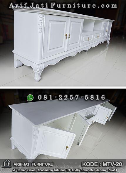 meja tv ukir classic warna putih
