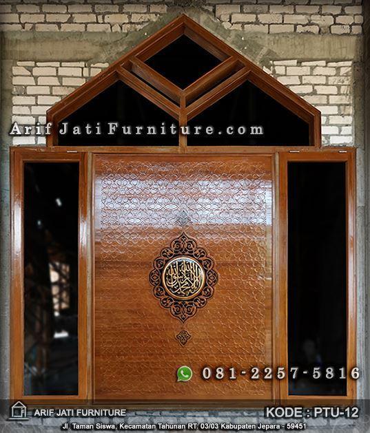 Pintu Masjid Kayu Jati Ornamen Arabic | ARIF JATI FURNITURE