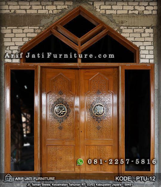 pintu masjid kayu jati ornamen arabic