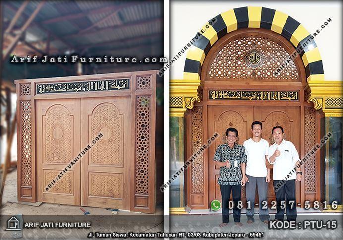 pintu masjid minimalis kayu jati