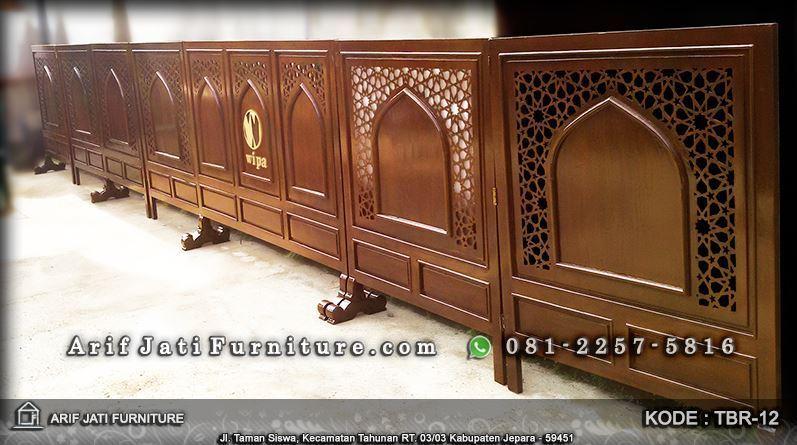 pembatas shaf masjid kayu jati modern