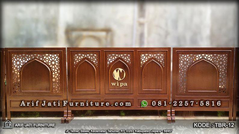 tabir masjid kayu jati dengan logo