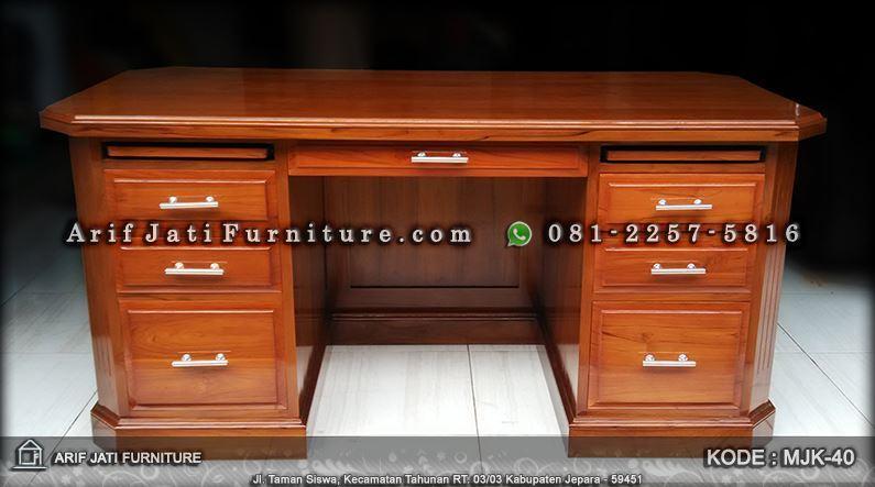 meja kantor jati minimalis harga murah