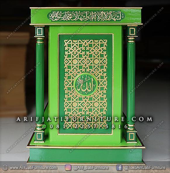 Podium Masjid Minimalis Warna Hijau