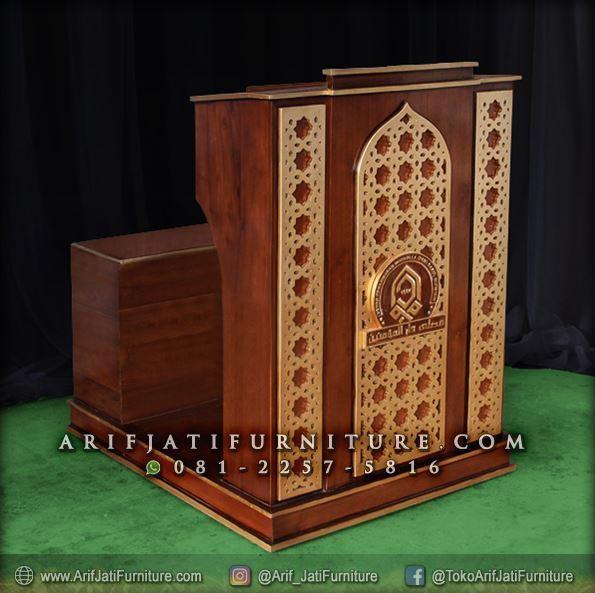Podium Masjid Minimalis Kayu Jati
