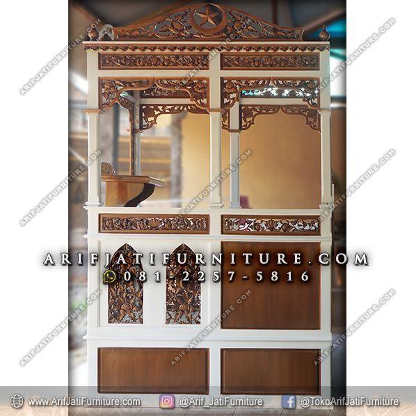 mimbar masjid muhammadiyah warna putih