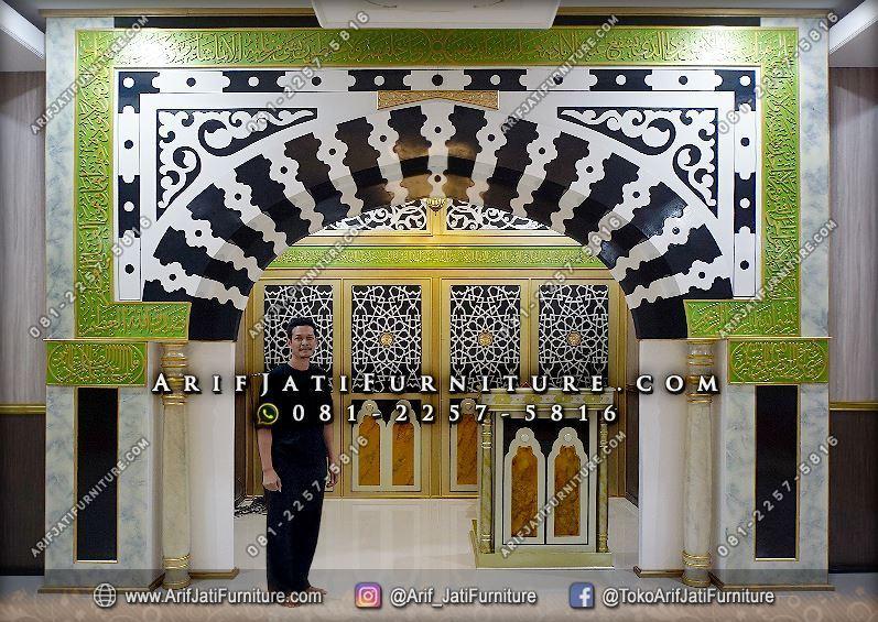 Mihrab Masjid Nabawi Kayu Jati Mewah