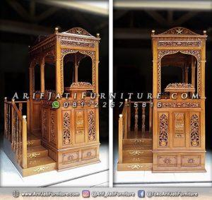 Jual Mimbar Masjid Jati Tangga Samping
