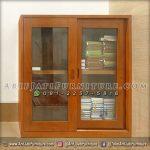 Lemari Al-Qur'an Pintu Kaca Kayu Jati